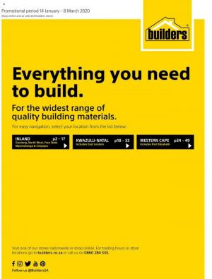 builders warehouse specials everything you need to build 14 january 2020