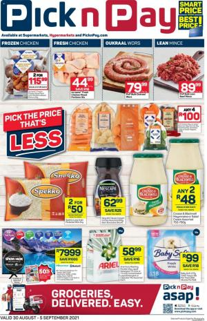 pick n pay specials 30 aug 5 sep 2021