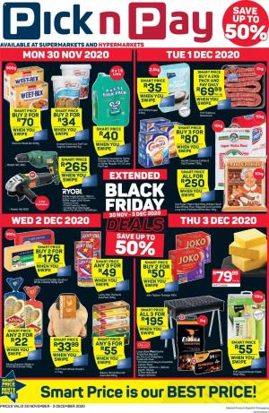 pick n pay specials black friday extended 30 november 2020
