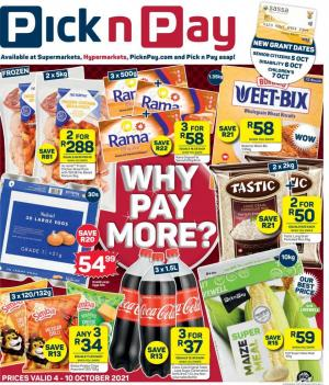 pick n pay specials why pay more 4 10 october 2021