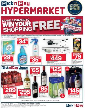 pick n pay specials win your shopping 16 november 2020