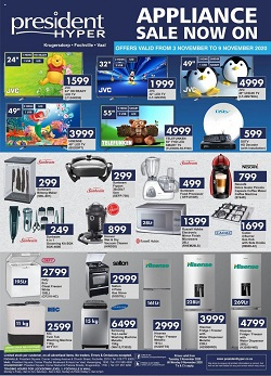 president hyper specials appliance sale 3 november 2020
