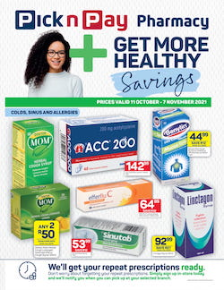 """pick n pay specials pharmacy 11 oct - 7 nov 2021"""" width="""
