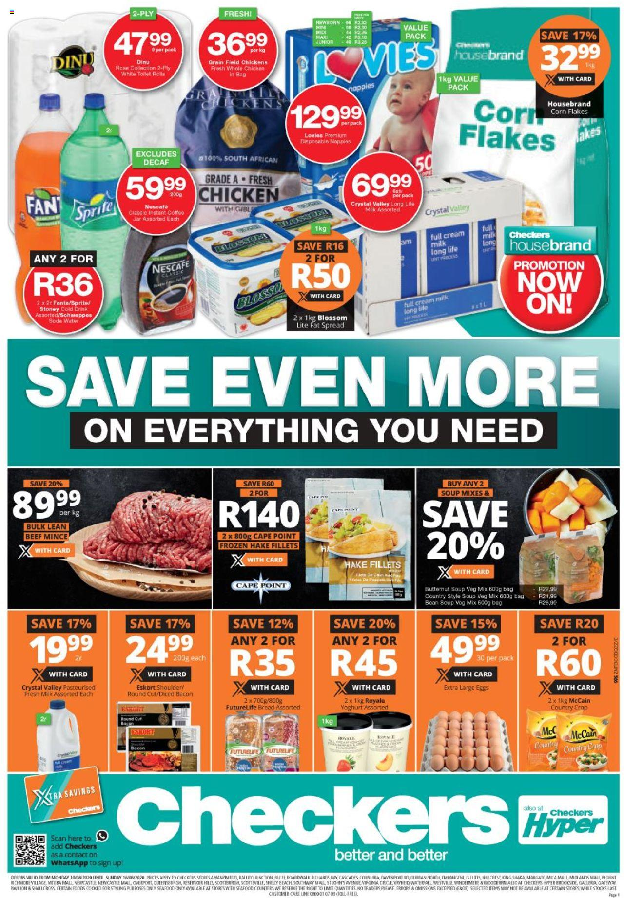 checkers specials 10 august 2020