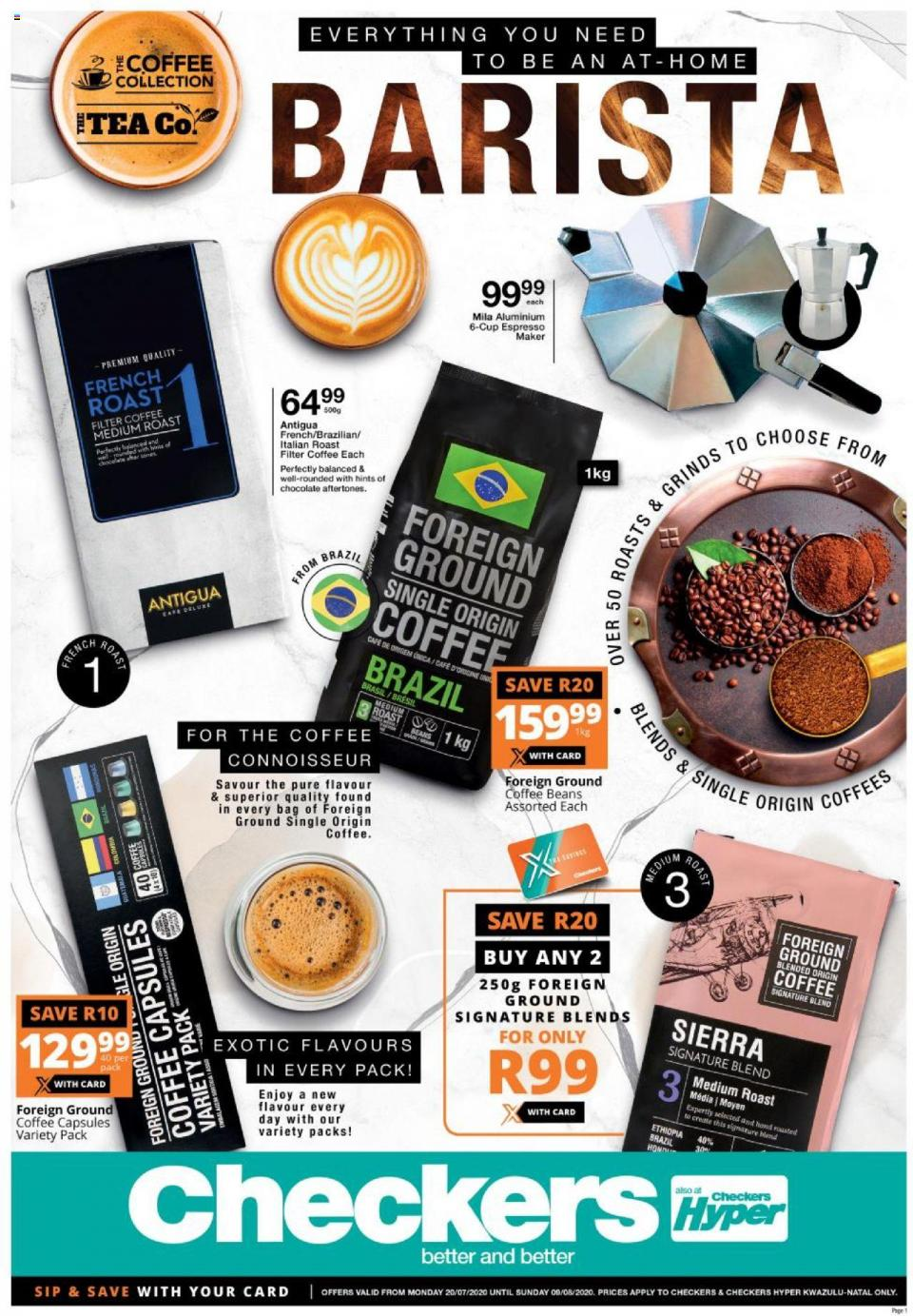 checkers specials coffee promotion 20 july 2020