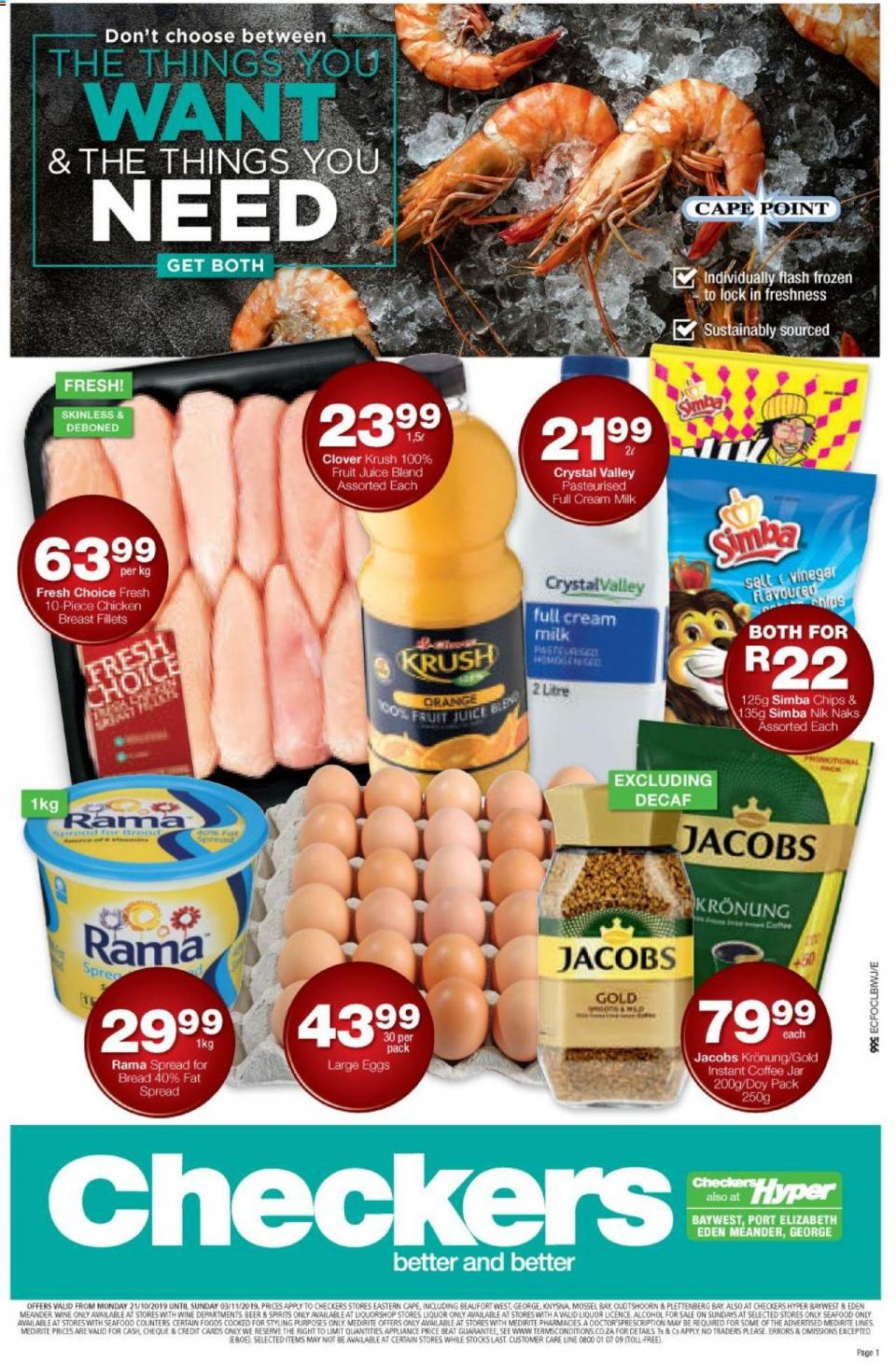 checkers specials eastern cape 21 october 2019
