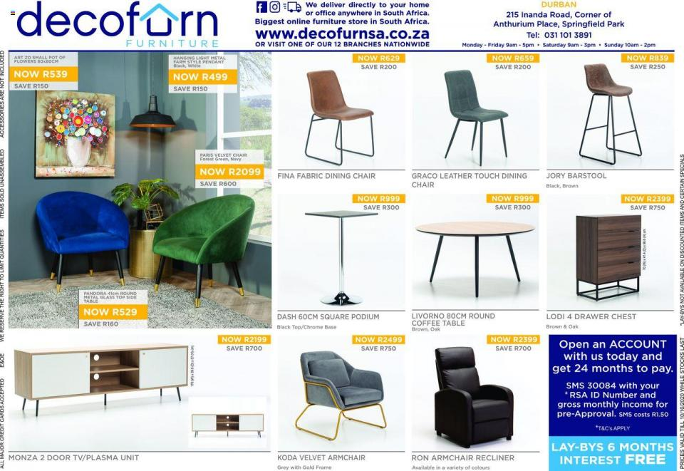 decofurn specials 30 september 2020