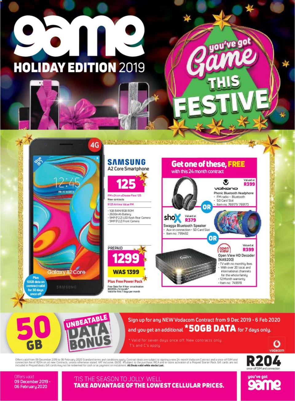 game specials cellular holiday edition 09 december 2019