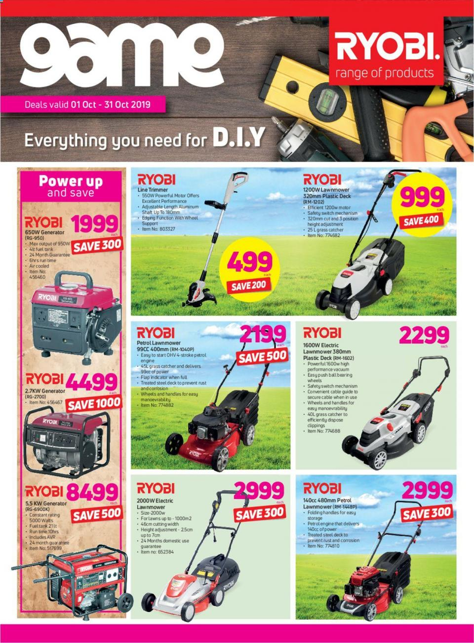 game specials ryobi range of products 01 october 2019
