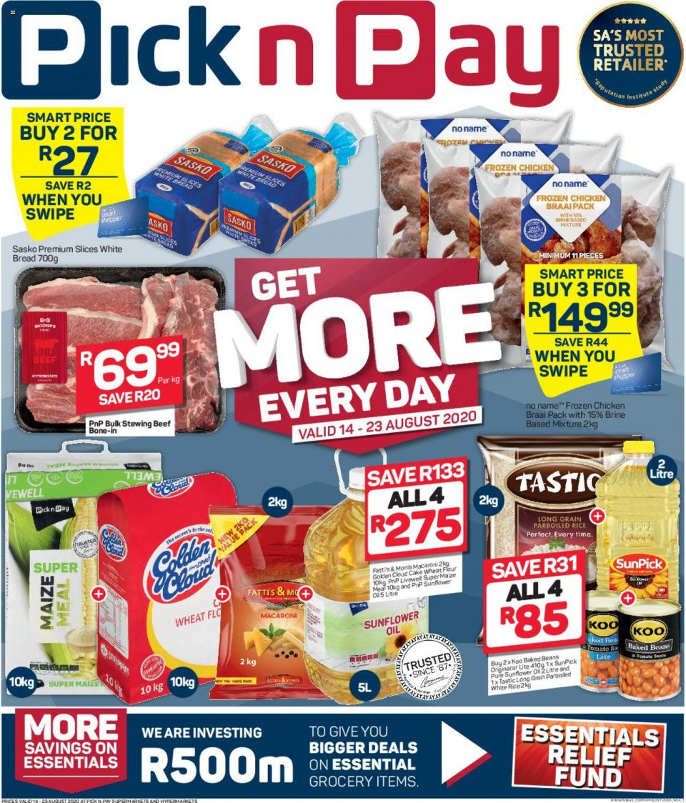 pick n pay specials get more savings 14 august 2020