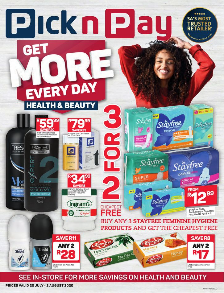 pick n pay specials health and beauty 20 july 2020