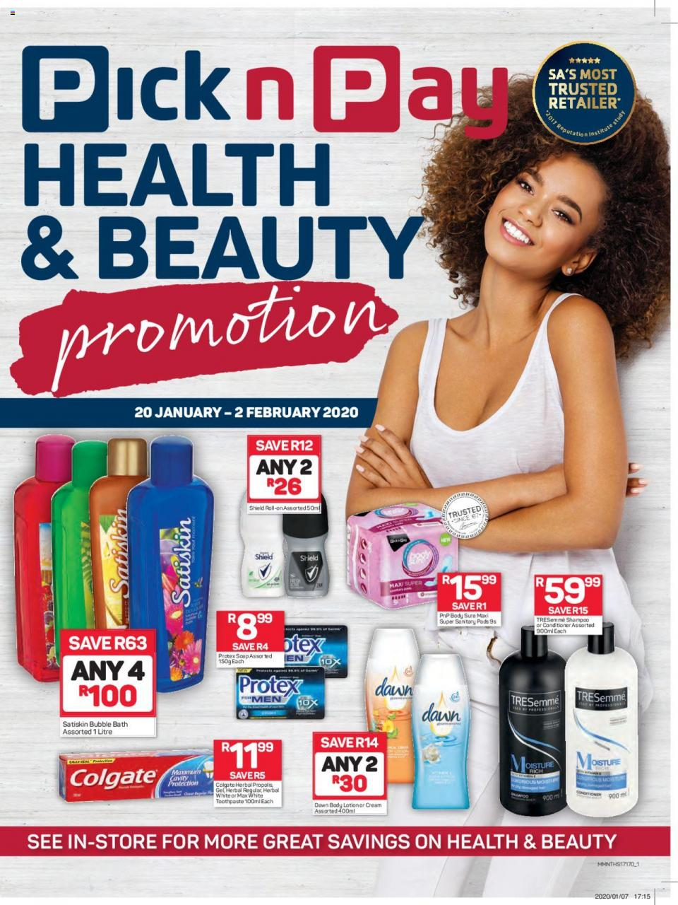 pick n pay specials health beauty 20 january 2020