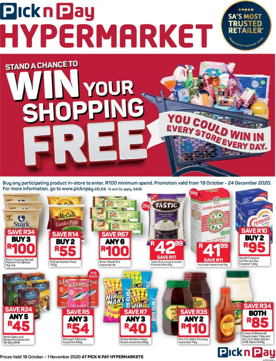 pick n pay specials hypermarkets 19 october 2020