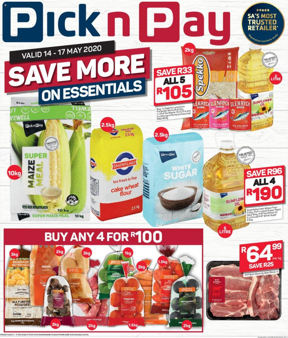 pick n pay specials this weekend 14 may 2020