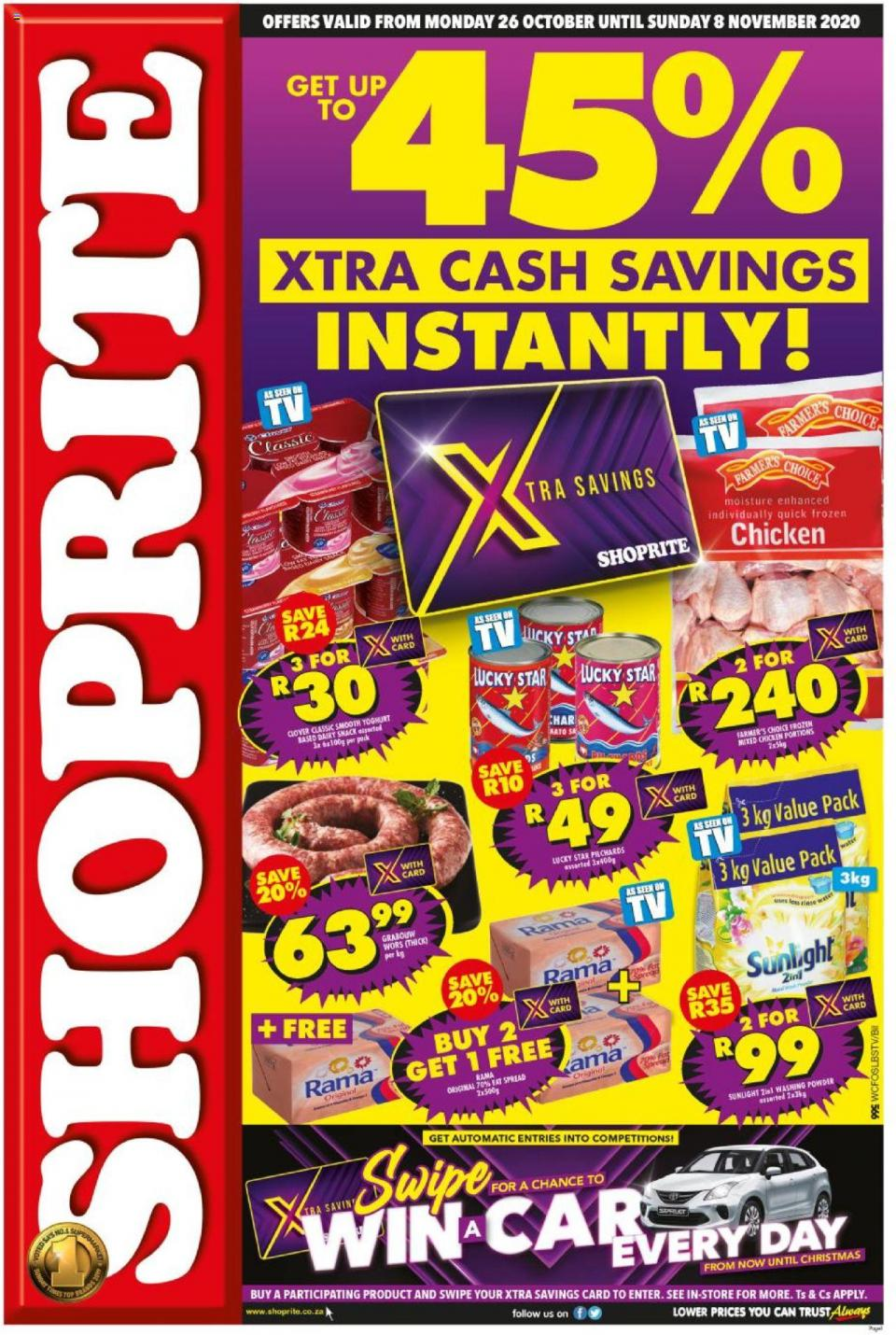 shoprite specials 45 xtra cash savings 26 october 2020