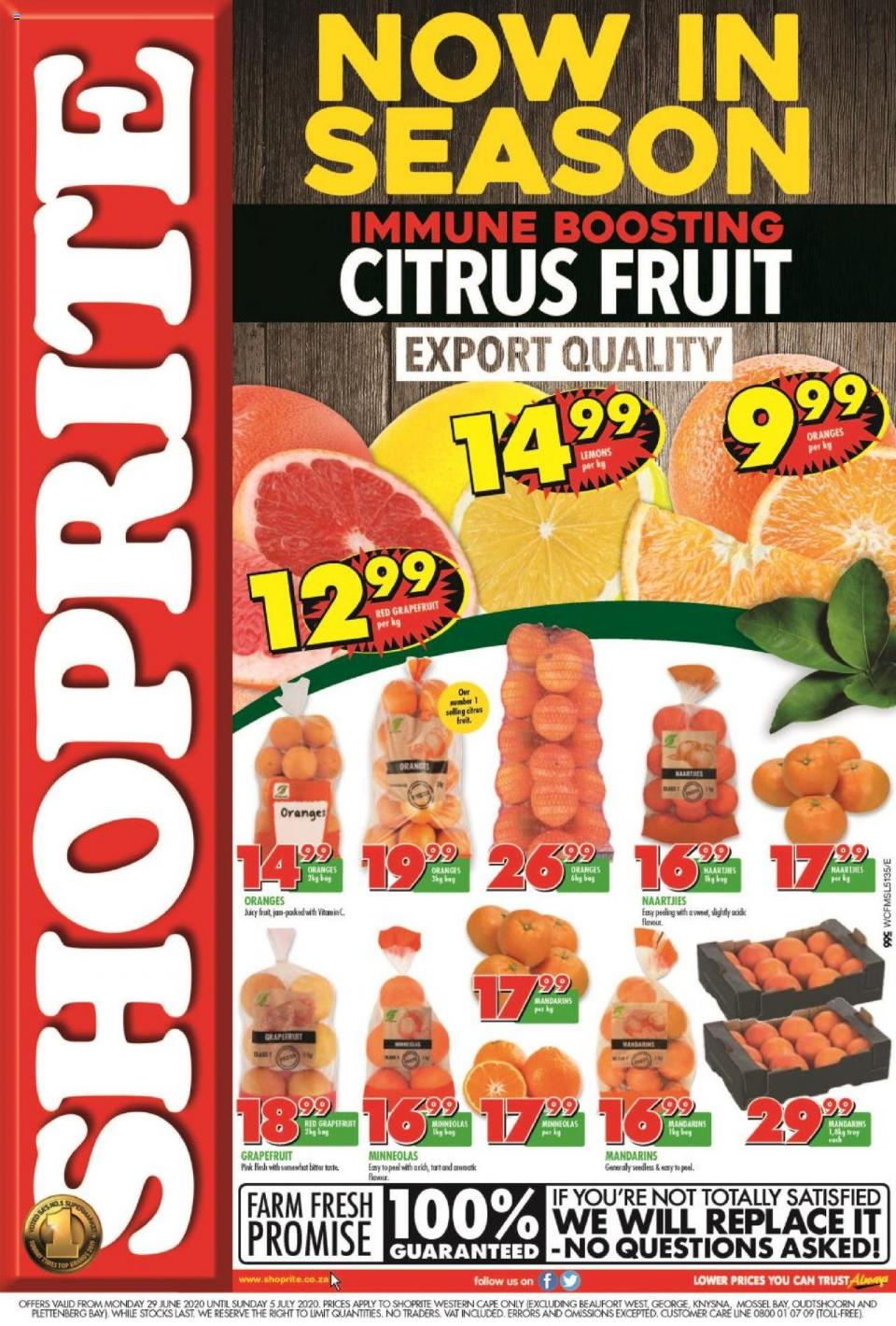 shoprite specials citrus fruit promotion 29 june 2020 western cape