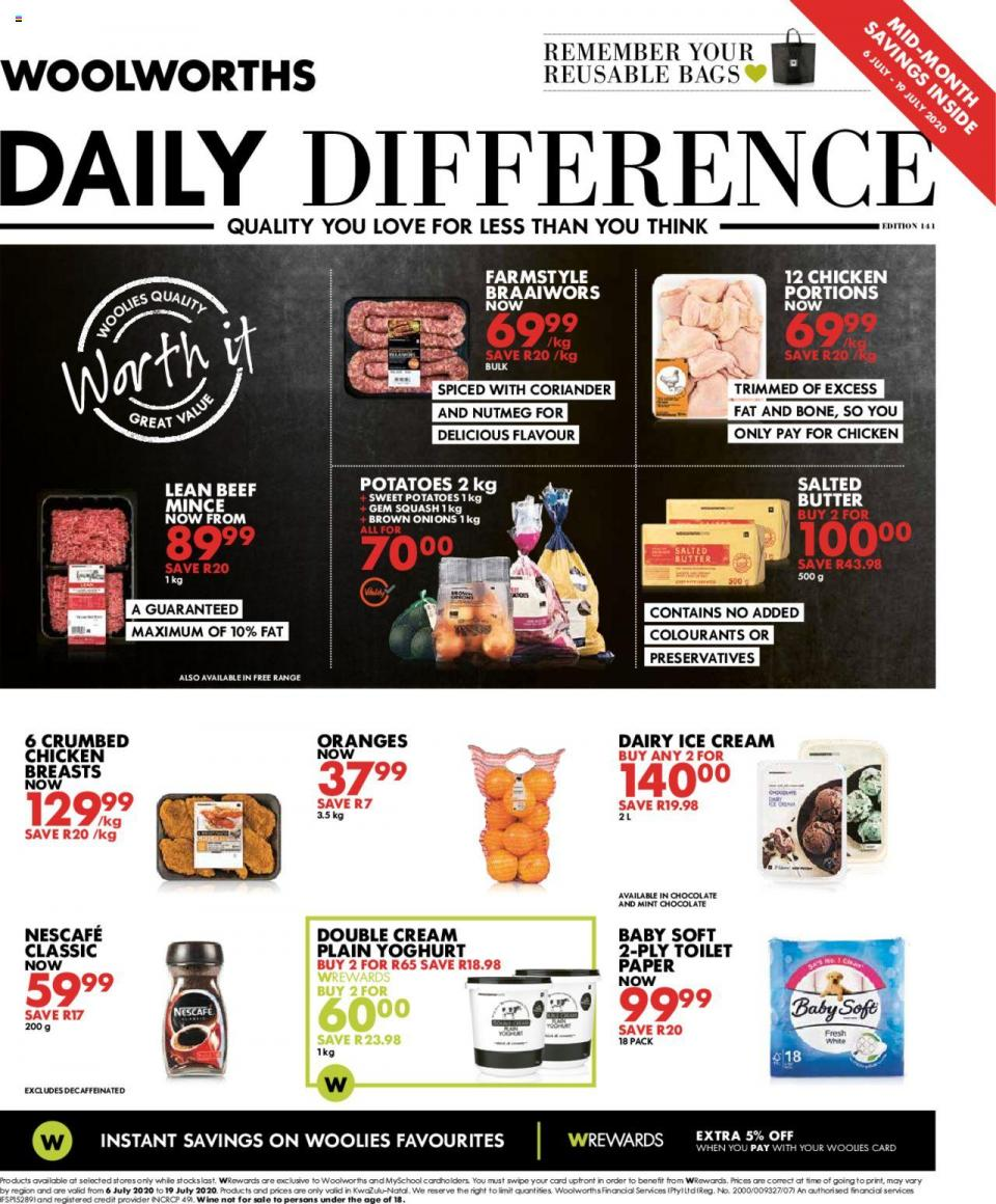 woolworths specials 6 july 2020