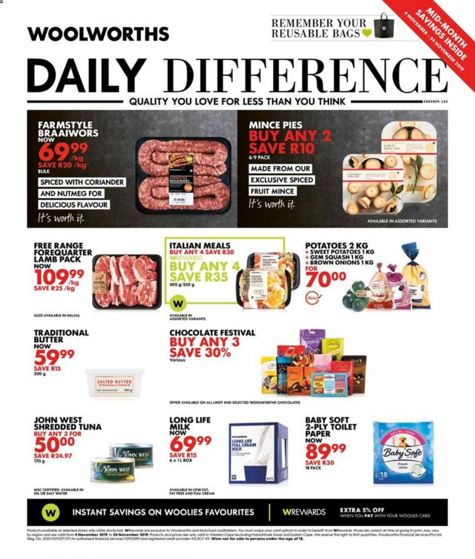 woolworths specials daily difference 04 november 2019