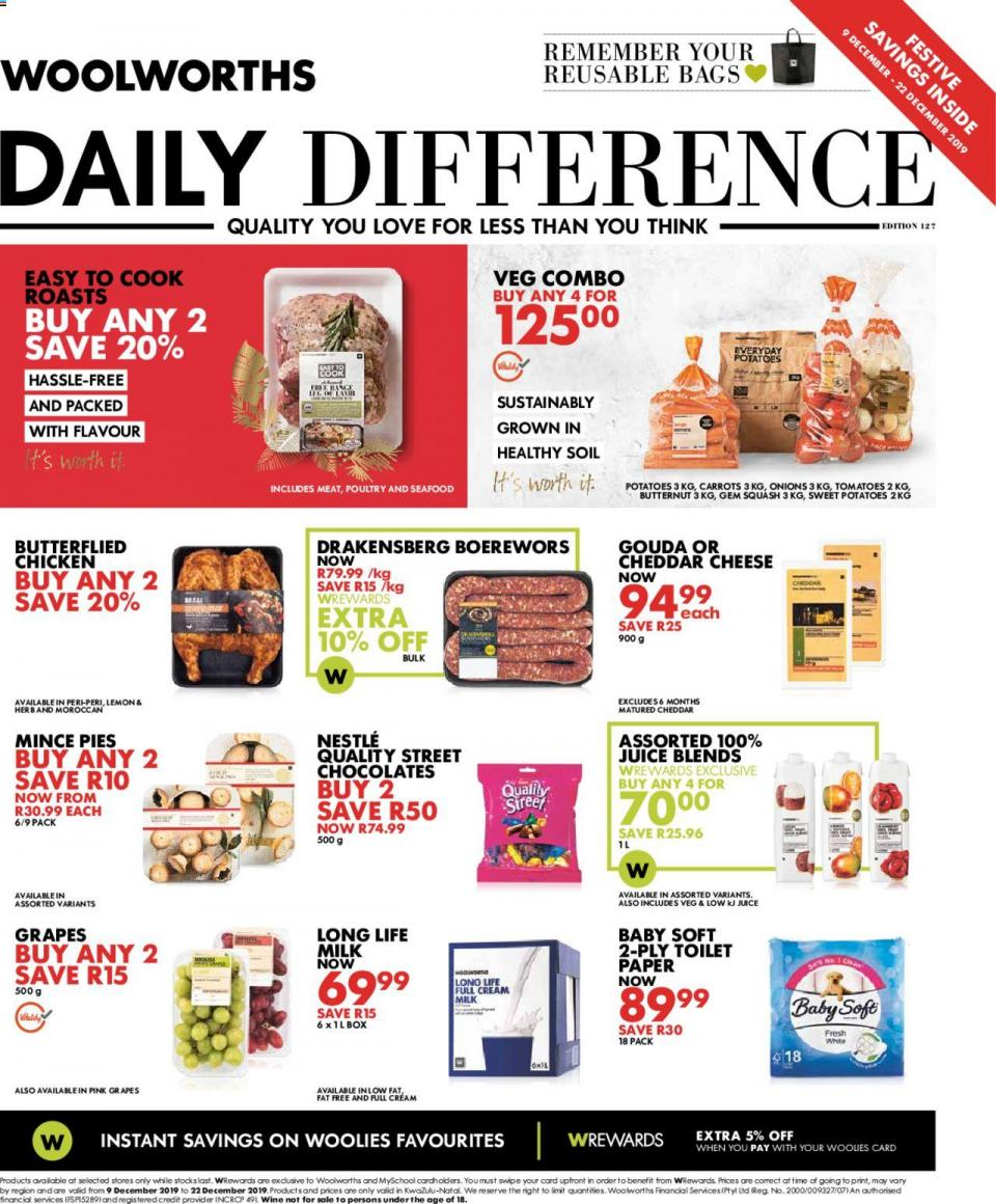 woolworths specials daily difference 09 december 2019