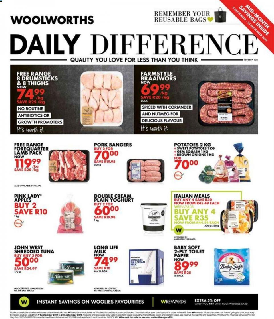 woolworths specials daily difference 10 september 2019