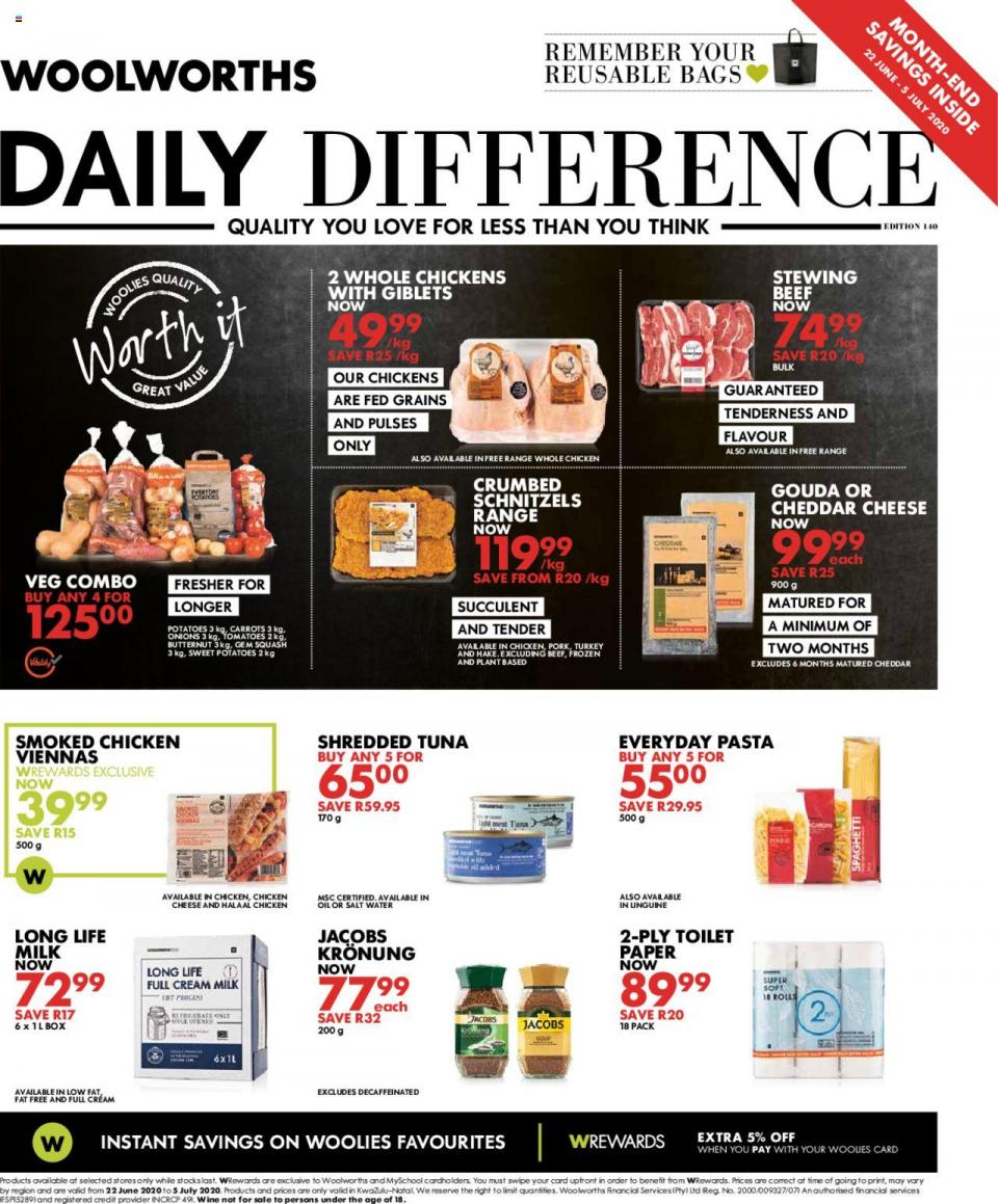 woolworths specials daily difference 22 june 2020