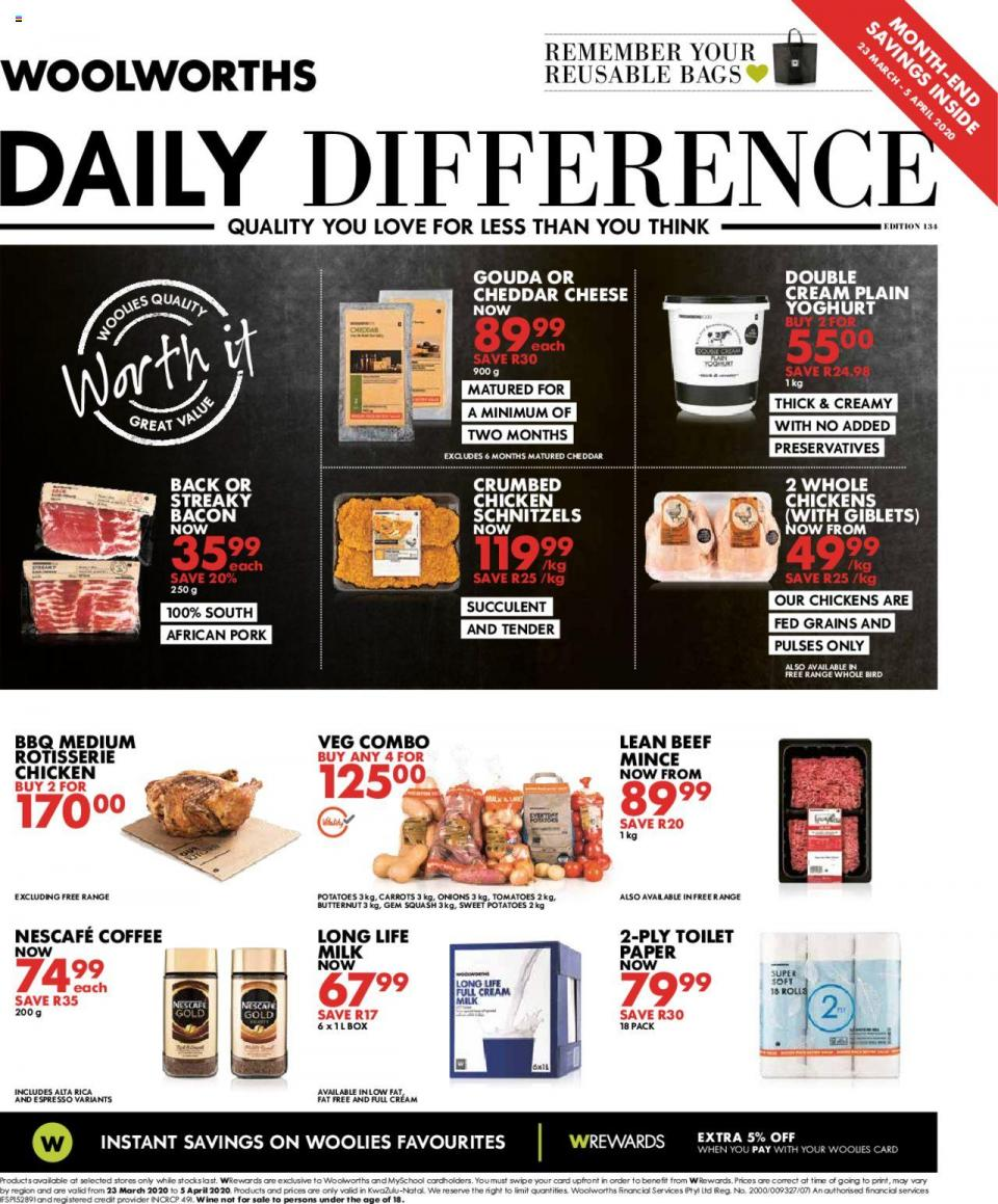 woolworths specials daily difference 23 march 2020