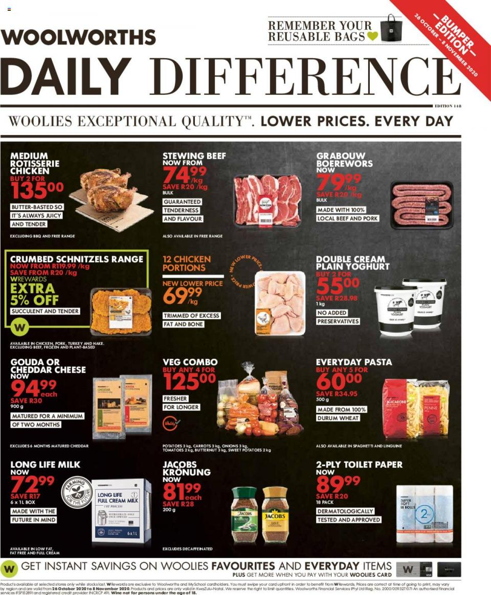 woolworths specials daily difference 26 october 2020