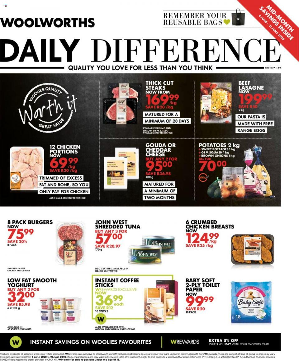 woolworths specials daily difference 8 june 2020